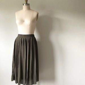 Olive Pleated Midi Skirt
